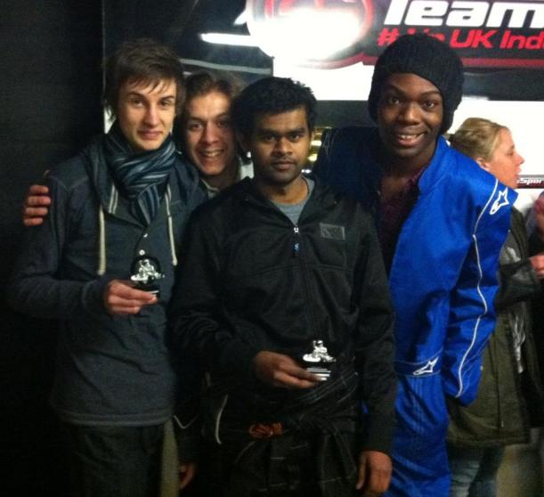 (Far Left) Joshua Cameron (GBR) Ugbaja Grand Prix Karting Team